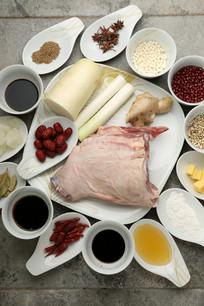 萝卜红枣炖羊肉红豆薏米芡实糕食材