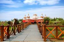 伏尔加庄园俄罗斯风格建筑夏季木桥