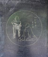 简洁人物线条画-石刻艺术