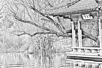 济南大明湖之水秀亭