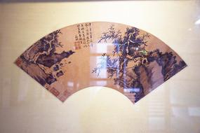 山石树木古代扇面图