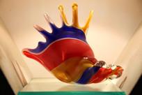 玻璃艺术品红蓝黄三色海螺