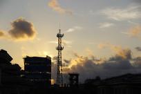 工业厂区彩霞天空
