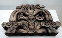 荷花纹木雕建筑构件 清代