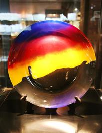 玻璃艺术品红黄蓝渐变纹圆盘