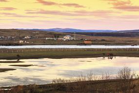 边境小镇室韦秋季黄昏美景