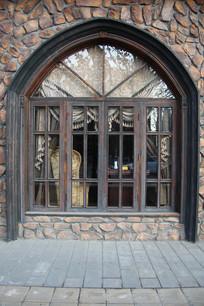 欧式拱形木窗背景