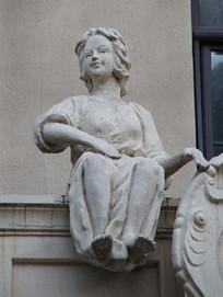 石雕欧洲小男孩
