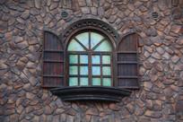 石墙欧式木窗背景