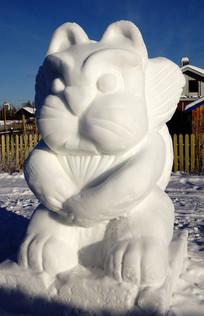 雪雕卡通雪兔