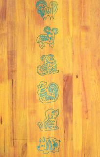 简单图案木刻-十二生肖木雕
