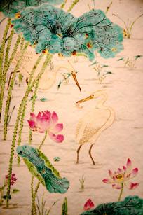 瓷器荷花与仙鹤