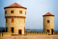 意大利式城堡建筑特写