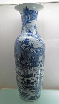 清代文物青花滕王阁图大花瓶