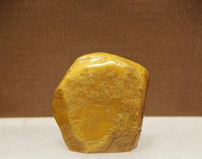 明代寿山石雕竹林风景印章
