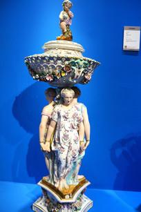 美国西洋风格陶瓷人物台座
