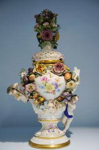 德国彩绘陶瓷装饰花瓶