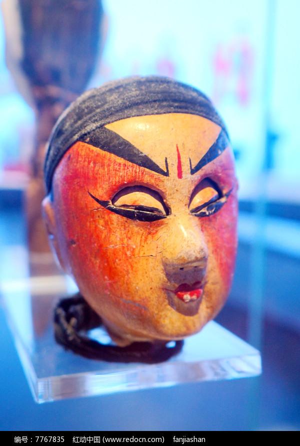 民国初年陕西西安杖头木偶头之闭眼人图片