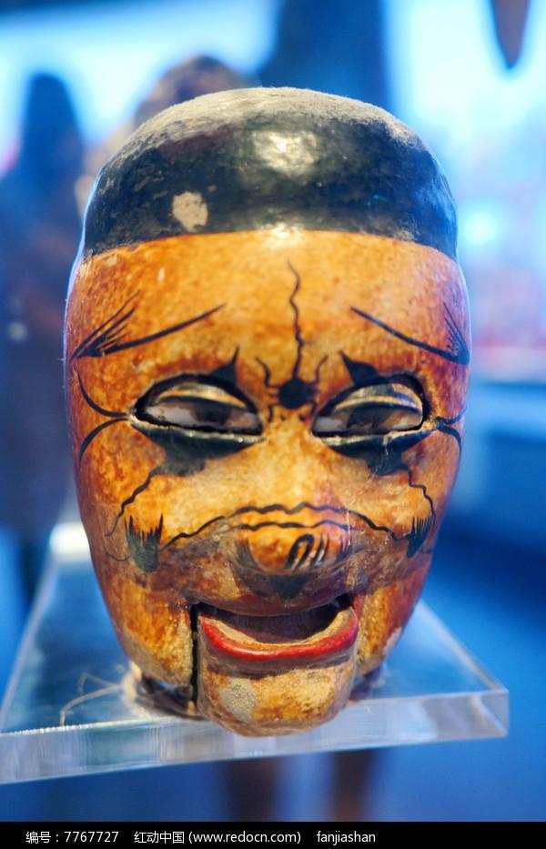 民国初年陕西西安杖头木偶头之盲人图片