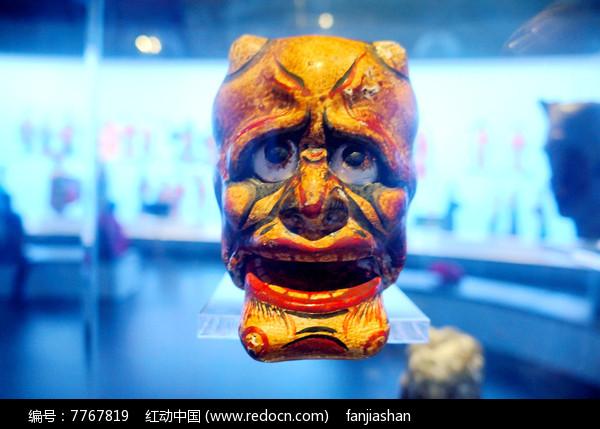 民国初年陕西西安杖头木偶头之呲牙人图片