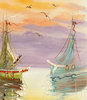 欧式风景油画 帆船油画