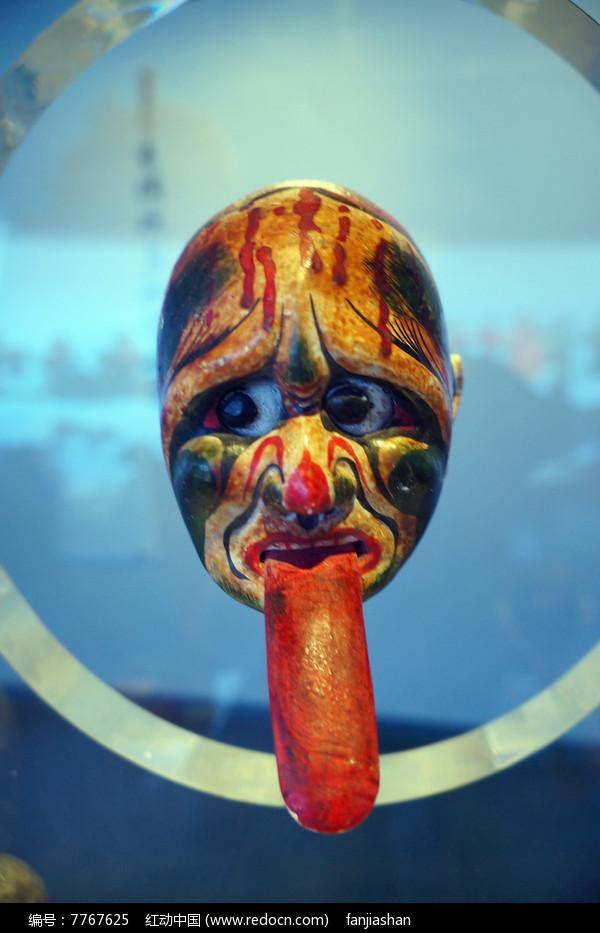 清代湖南地区杖头木偶头长舌鬼图片