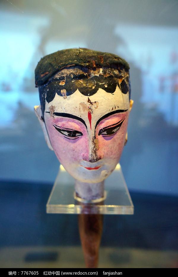 清代湖南地区杖头木偶头粉面女子图片
