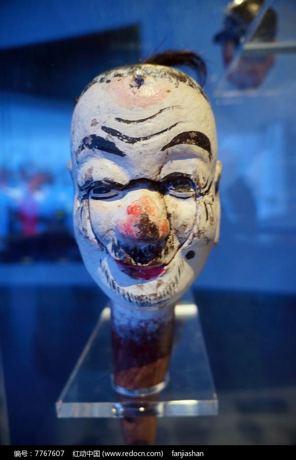 清代湖南地区杖头木偶头之白脸汉图片