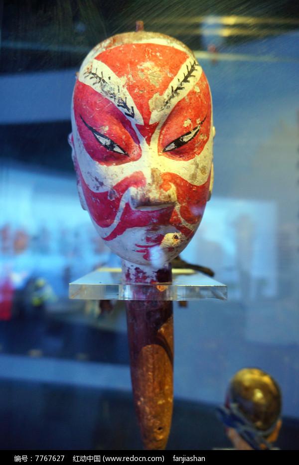 清代湖南地区杖头木偶头之红脸汉图片