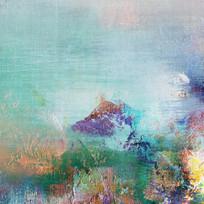 现代风格蓝色调抽象油画背景墙壁画