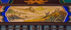 屋檐绘画黄昏山间