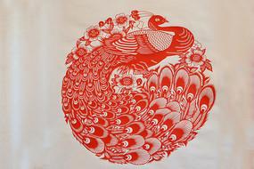 孔雀剪纸图案
