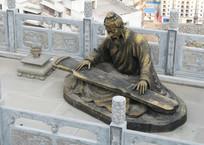 巫山圣泉公园抚琴人塑像