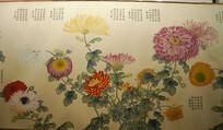 色彩斑斓的国画菊花