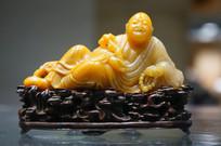 民国黄寿山雕罗汉卧像