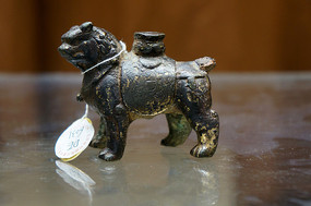 元代铜鎏金狮子香插