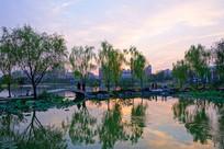 江南园林暮色景观