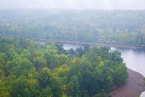树林河流晨雾