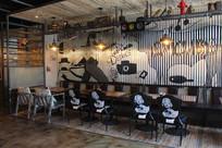 餐厅墙面铁板手绘画