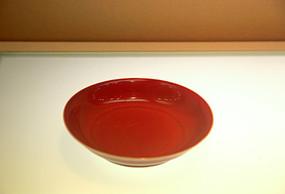 明宣德祭红釉盘