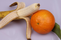 香蕉橘子水果特写