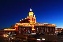 牙克石火车站欧式建筑夜景