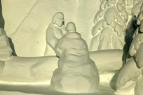原木生产场景雪雕
