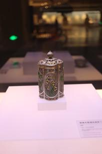 银累丝錾刻珐琅彩兰花纹盖瓶