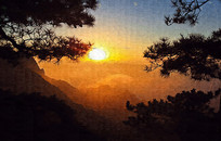 山坡晚霞风景