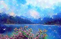 水彩山水风景