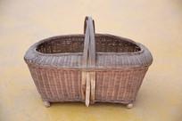 老物件竹编长方形提篮子