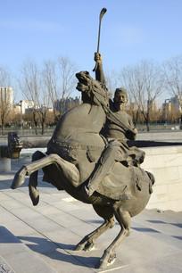 雕塑唐代马球