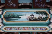 古建彩绘湖岸凉亭