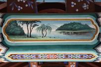 古建彩绘湖水翠柳